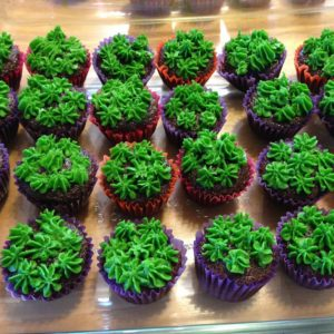 Wade's Wiggly Antlers - moss cupcakes